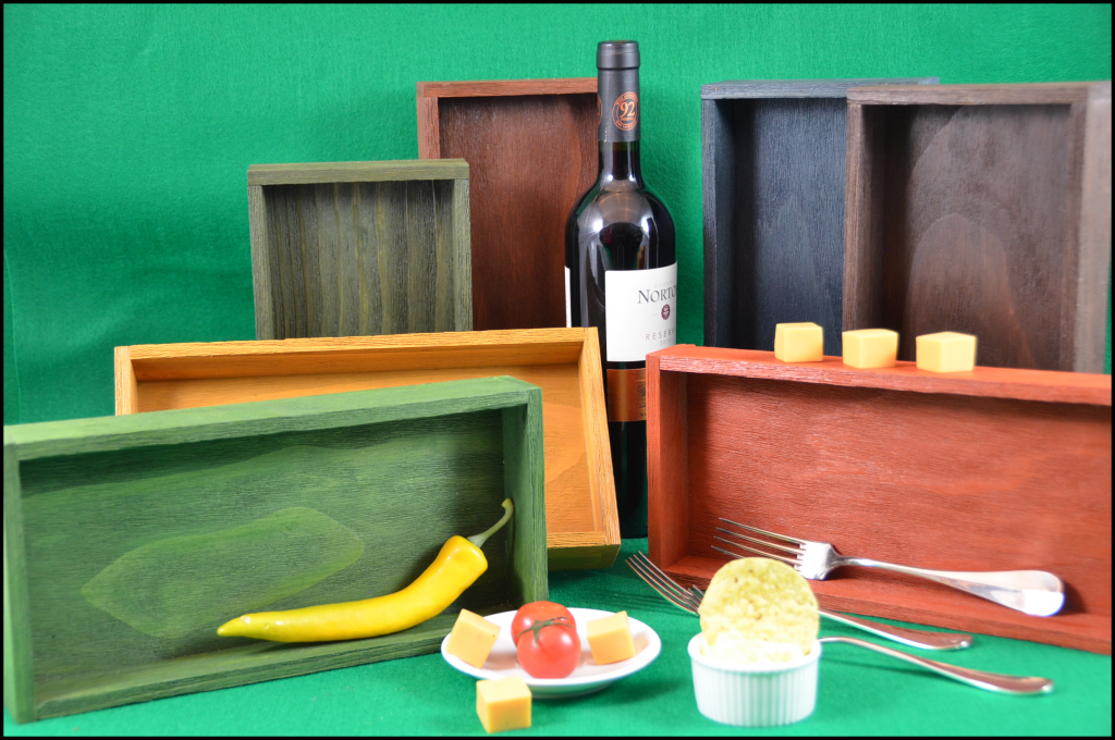 Hand made wood trays are made to order in the shape and color of your decor